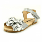 Baby Girl's Glitter Metallic Sandal Party Dress Shoes Sparkly Strap with Bow Silver or Pink