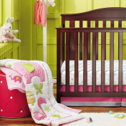 New Baby Girls Neutral Flamingos Pink 8pcs Crib Cot Bedding Set