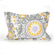 Sweet Potato Fiona Sham Suzani Pillow, Large, Purple/White/Grey/Yellow