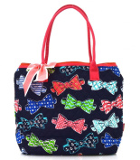 Bow Tie Print Quilted Tote Bag