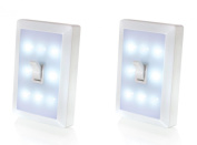 Light Switch Night Light Lamp Low Voltage 8 LED's Lighting for Baby Nursery, Kid's Room, Bedroom, Attic, Garage, Shed, Cabinets, Closets, Hospital Bed, Anywhere. Battery Operated, Cordless, No Wiring Needed. 2 Pieces. Brand
