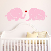 Elephant Family Wall Decal with Red Heart (Pink) - 23cm X 70cm