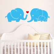 Elephant Family Wall Decal with Red Heart (Lt. Blue) - 23cm X 70cm