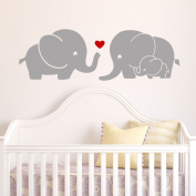 Elephant Family Wall Decal with Red Heart (Grey) - 23cm X 70cm