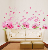 Pink Cherry Blossom Flowers Wall Decal Home Sticker Paper Removable Living Dinning Room Bedroom Kitchen Art Picture Murals DIY Stick Girls Boys kids Nursery Baby Playroom Decoration PP-AY957