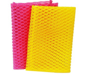 Innovative Dish Washing Net Cloths / Scourer - 100% Odour Free / Quick Dry - No More Sponges with Mildew Smell - Perfect Scrubber for Washing Dishes - 28cm by 28cm - 2PCS - Pink/Yellow