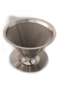 Bartelli Paperless Pour Over Coffee Dripper and Brewer - Permanent Reusable Ultra Fine Stainless Steel Mesh Micro Filter - Single Serve Cup or Small Pot