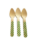 Perfect Stix Polka Dot Spoon 110 36-Green Printed Wooden Spoons with Green Polka Dot Pattern, 11cm