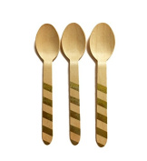 Perfect Stix Striped Spoons 158 36-Gold Printed Wooden Spoons with Gold Stripes Pattern