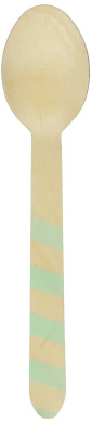 Perfect Stix Striped Spoons 158 36-Mint Printed Wooden Spoons with Mint Stripes Pattern (Pack of 36)