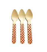 Perfect Stix Polka Dot Spoon 110 36 - Red Printed Wooden Spoons with Red Polka Dot Pattern, 11cm