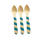 Perfect Stix Stiped Spoon 110 36-Blue Printed Wooden Spoons with Blue Striped Pattern, 11cm