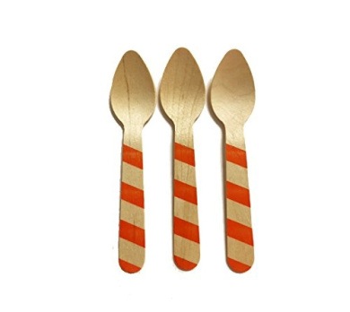 Perfect Stix Striped Spoon 110 36- Orange Printed Wooden Spoons with Orange Striped Pattern, 11cm (Pack of 36)