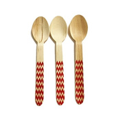 Perfect Stix Chevron Spoon 158 36 - Red Printed Wooden Spoons with Red Chevron Pattern