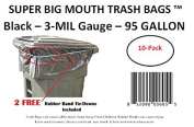 359.6l Super Big Mouth Trash Bags 10-Pack Plus 2 Free Rubber Tie Down Band