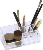 Bath Makeup & Cosmetic Organiser 9 compartments Clear Acrylic