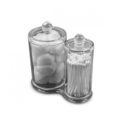Sorbus® Acrylic Cotton Ball and Swab Holder - Attached Containers with Separate Lids