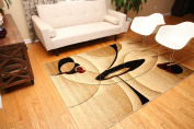 New City Brand New Contemporary Brown and Beige Modern Wavy Circles Wool Area Rug 1.2m0.6m x 1.5m2
