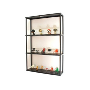 Wall-mounted Steel Shelving Unit - 90cm H X 60cm W X 15cm D - Black - For Kitchen, Storage, or Display Use.