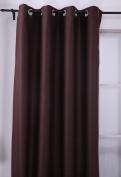 Deconovo Ring Top Curtain Bedroom 130cm x 240cm Chocolate