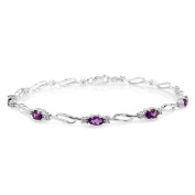 14k White Gold Tennis Bracelet with Amethysts and Diamonds