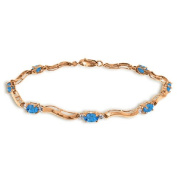 14k Rose Gold Tennis Bracelet with Diamonds and Blue Topaz