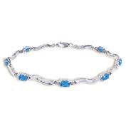 14k White Gold Tennis Bracelet with Diamonds and Blue Topaz