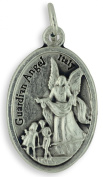 Lot of 10 - Guardian Angel / Pray for Us oxidised medal 2.2cm - Made in Italy