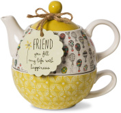 Pavilion Gift Company Friend Ceramic Teapot and Cup for One, 440ml, Multicoloured