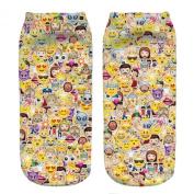3D Printed Unisex Cute Low Cut Ankle Socks Harajuku Style Emoji Stickers Free Size