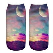 3D Printed Unisex Cute Low Cut Ankle Socks Harajuku Style Pastel Moon