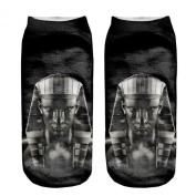 3D Printed Unisex Cute Low Cut Ankle Socks Harajuku Style Black Pharaoh