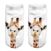 3D Animal Unisex Cute Low Cut Ankle Socks Multiple Colours Harajuku Style GIRAFFE