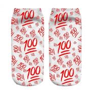 Funny Sock Emoji Red White 100 Print For Woman Man Boy Girl Chic Fashion