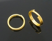Housweety 400 Gold Plated Double Loop Split Open Jump Rings 8mm