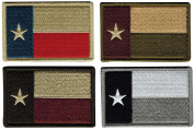 Bundle of 4 Texas Tactical Flag Patches, Multi-Coloured, by JAS Drapery