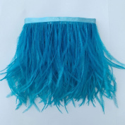 5 yards Turquoise Ostrich Feather Trim Fringe on Satin Header 10cm - 15cm in Width for Wedding Sewing Crafts Costumes Decoration