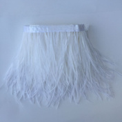 5 yards White Ostrich Feather Trim Fringe on Satin Header 10cm - 15cm in Width for Wedding Sewing Crafts Costumes Decoration
