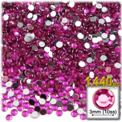 The Crafts Outlet 1440-Piece Flat Back Round Rhinestones, 3mm, Fuchsia