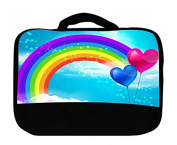 Cute Girly Rainbow and Hearts Print Insulated Canvas Lunch Bag