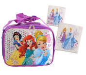 "Disney Princess ""School Ready"" Girls Sparkle Resuable Lunch Box with Strap! Featuring Cinderella, Ariel, & Snow White! Plus Bonus Disney Princess 20ct 2 Ply Lunch Napkins!"
