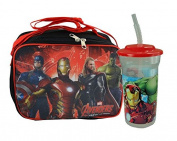 "Marvel Avengers ""School Ready"" Boys Resuable Lunch Box with Strap Plus Bonus Avengers 470ml Sports Tumbler with lid and straw! Featuring Captin America, Iron Man, Thor & The Hulk!"