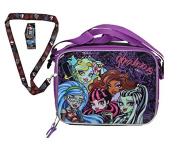 Monster High Girls Resuable Lunch Box with Strap Plus Bonus Monster High Lanyard!