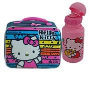 Hello Kitty Rainbow Print Girls Resuable Lunch Box Plus Bonus Hello Kitty Flip Top Water Bottle!