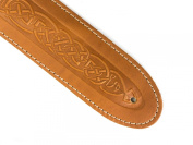 Celtic Knot Design Real Leather Guitar Strap With 6 Free Plectrums - Tan