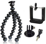 JOBY Gorillapod Flexible Tripod (Black/Charcoal) and a Bonus Ivation GoPro Mount & Smartphone Mount Adapter