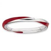 Sterling Silver Stackable Expressions Twisted Red Enamelled Ring