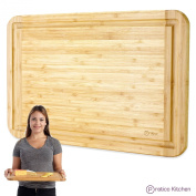 Premium Bamboo Cutting Board and Serving Tray with Juice Groove - Extra Large 46cm x 30cm - Great as Chopping Board, Cheese Board, or Bread Board