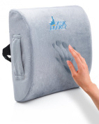 Premium Therapeutic Grade Lumbar Support Cushion with Pain Free Guarantee by Desk Jockey- Lower Back Support - Lumbar Support - Lower Back Pain Cushion - Car Driver Seat Cushion - Office Seat Cushion - Low Back Pain Pillow - Driving Seat Cushion