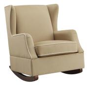 Dorel Living Baby Relax Hudson Upholstered Wingback Nursery Room Rocker Camel, Beige